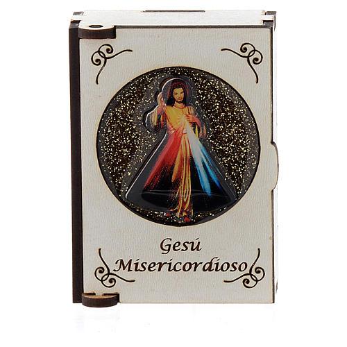 Portarosario de madera grabado láser Divina Misericordia 1