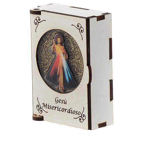 Portarosario de madera grabado láser Divina Misericordia 2