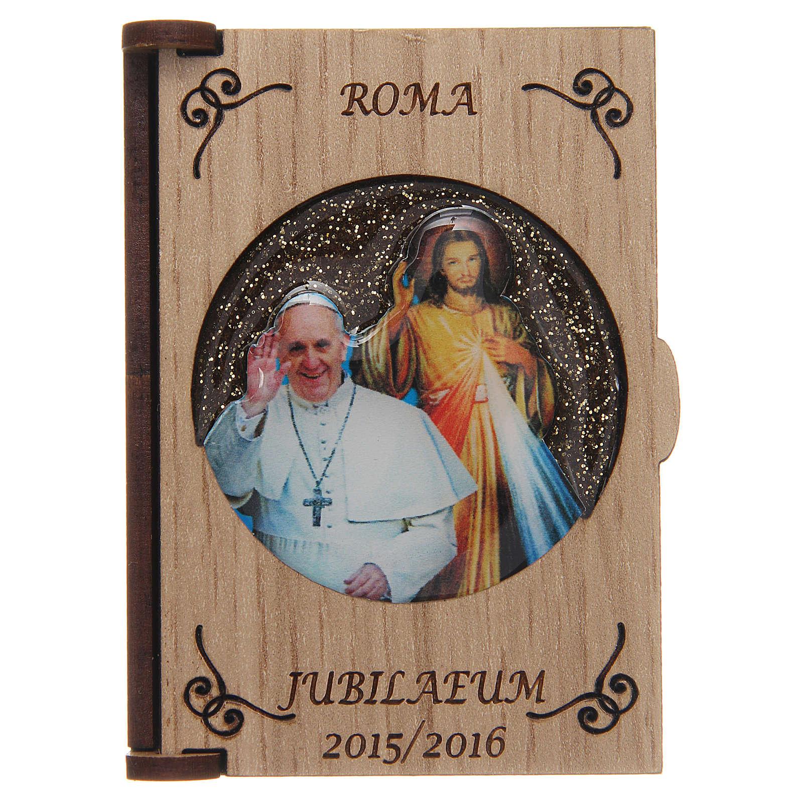 Rosenkranzetui lasergeschnittenes Holz, Papst Fraziskus und Gnadenbild vom Barmherzigen Jesus 4