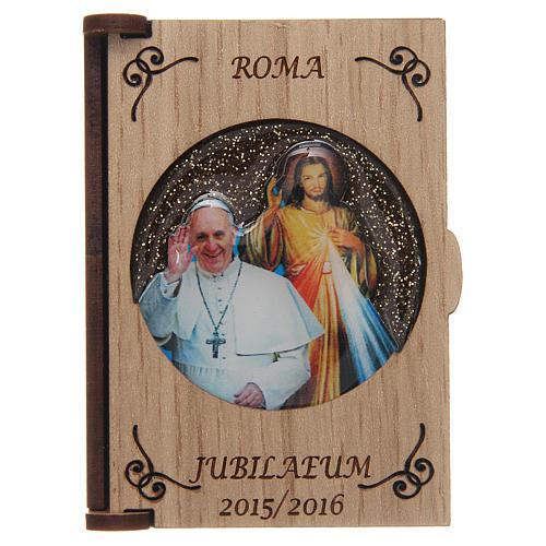 Rosenkranzetui lasergeschnittenes Holz, Papst Fraziskus und Gnadenbild vom Barmherzigen Jesus 1