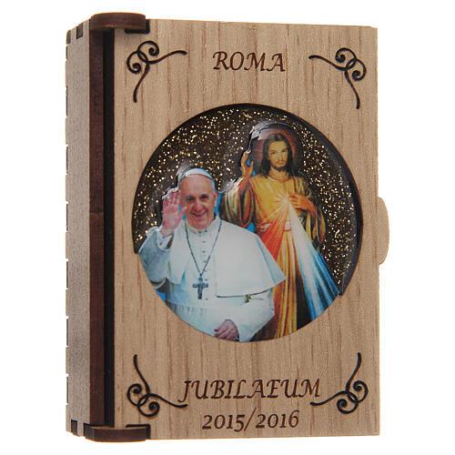 Rosenkranzetui lasergeschnittenes Holz, Papst Fraziskus und Gnadenbild vom Barmherzigen Jesus 2