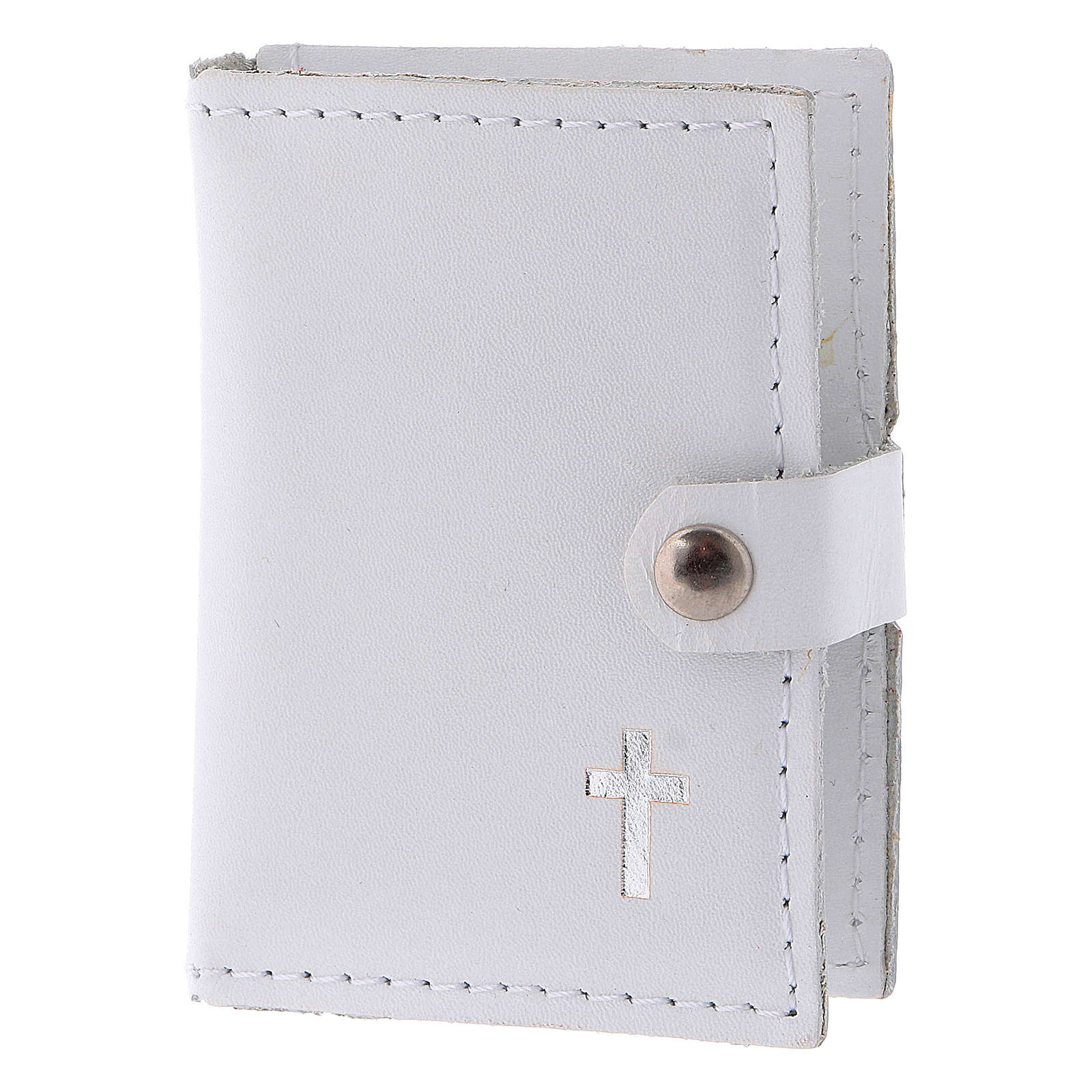 Rosary case in white leather with cross 4