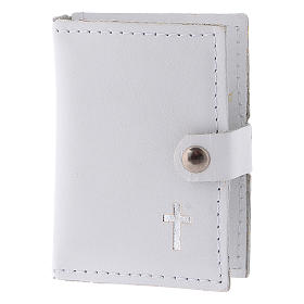 Rosary case in white leather with cross s2