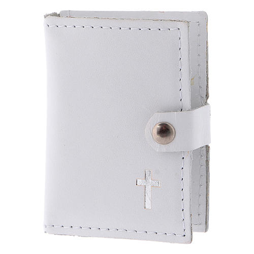 Rosary case in white leather with cross 2