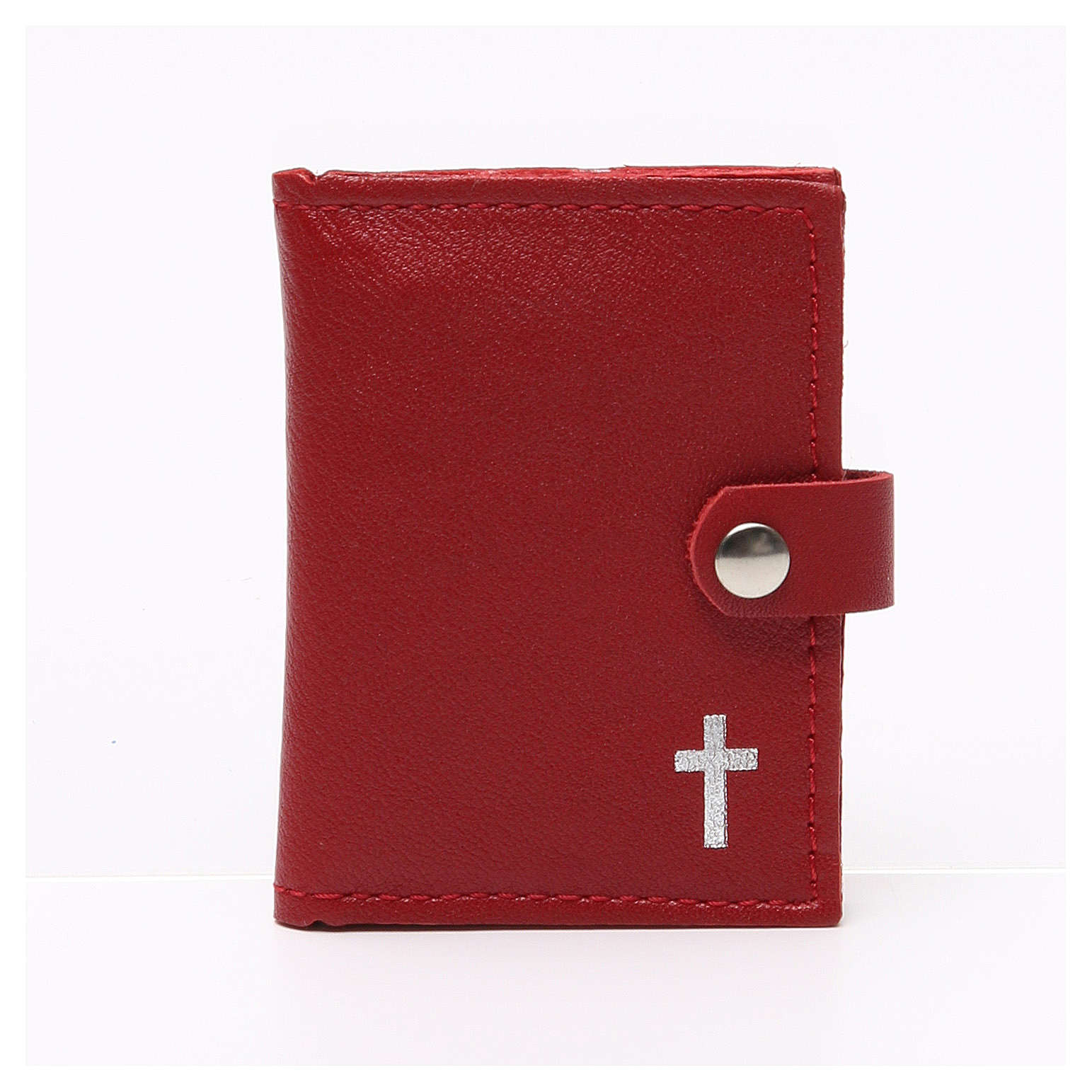 Rosary case in red leather with cross 4