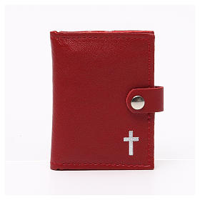 Rosary case in red leather with cross s1