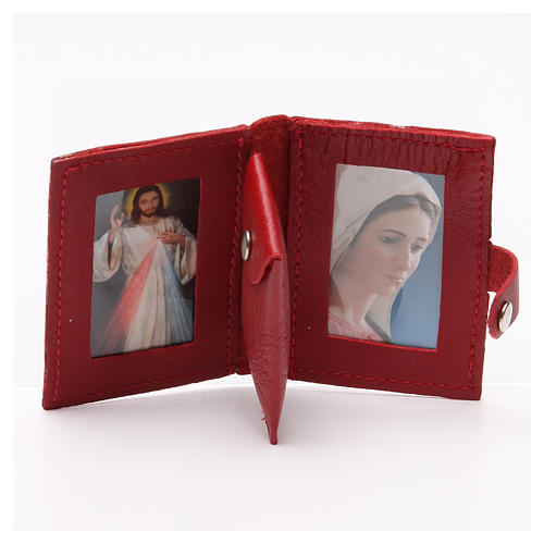 Rosary case in red leather with cross 2
