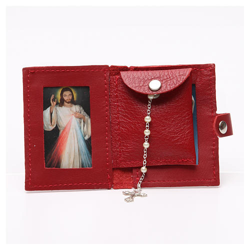 Rosary case in red leather with cross 3