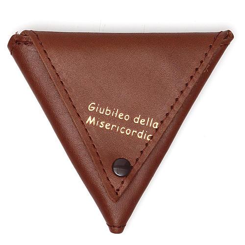 Portarosario triangolo pelle marrone Giubileo 1