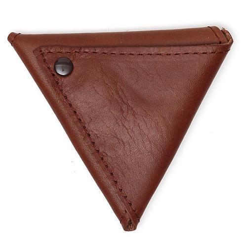 Portarosario triangolo pelle marrone Giubileo 2