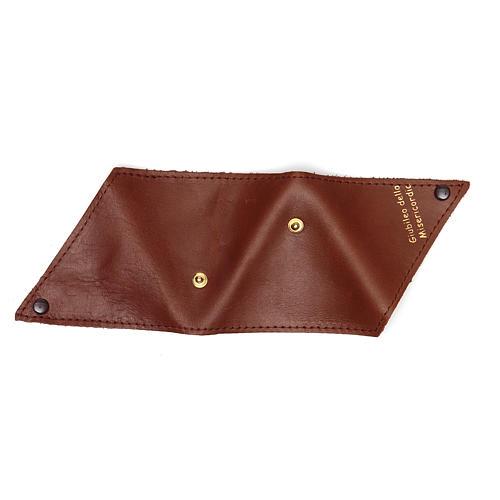 Portarosario triangolo pelle marrone Giubileo 5