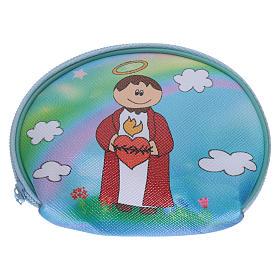 Étui chapelet pochette 10x8 cm image Sacré Coeur Jesus s1