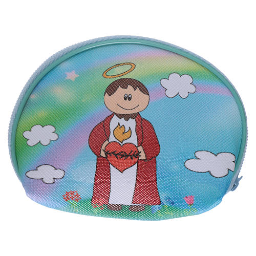 Portarosario borsellino 10x8 cm immagine Sacro Cuore Gesù 2