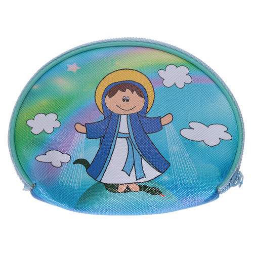 Portarosario borsellino 10x8 cm immagine Madonna Miracolosa 2
