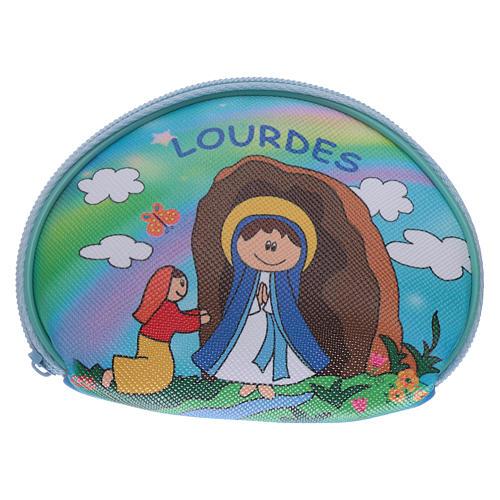 Estuche para rosario mangueta 10x8 cm imagen Virgen de Lourdes 1