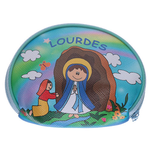 Estuche para rosario mangueta 10x8 cm imagen Virgen de Lourdes 2