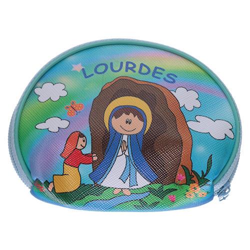 Portarosario borsellino 10x8 cm immagine Madonna di Lourdes 2