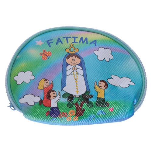 Purse rosary holder 10x8 cm with Our Lady of Fatima image 1