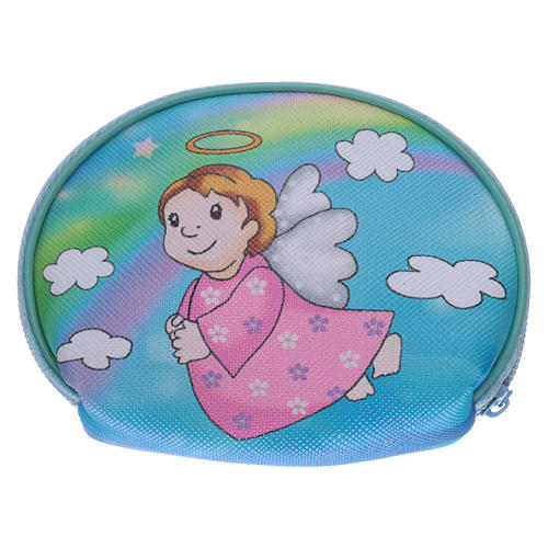 Purse rosary holder 10x8 cm with Angel dressed in pink image 2