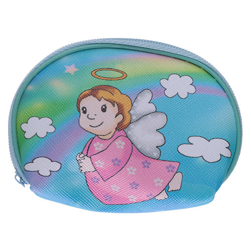 Purse rosary holder 10x8 cm with Angel dressed in pink image 1