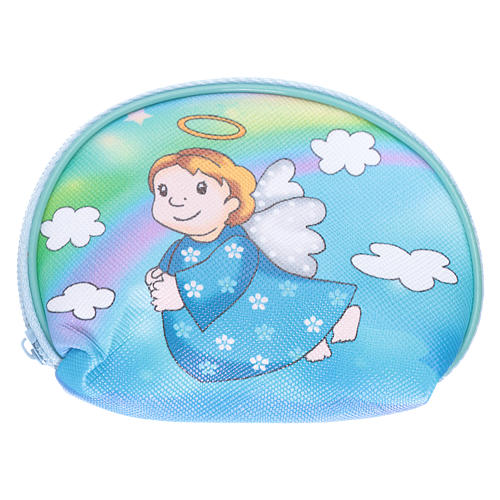 Purse rosary holder 10x8 cm with Angel dressed in light blue image 1