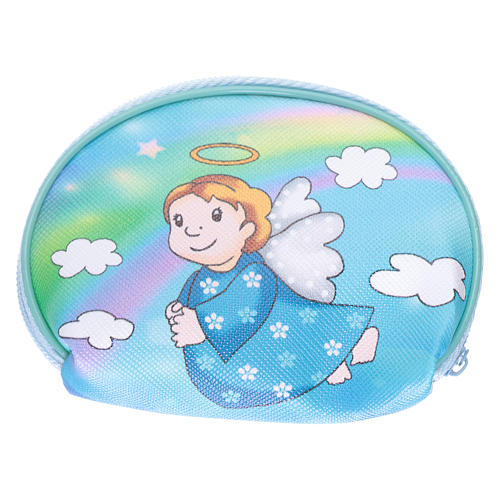 Purse rosary holder 10x8 cm with Angel dressed in light blue image 2
