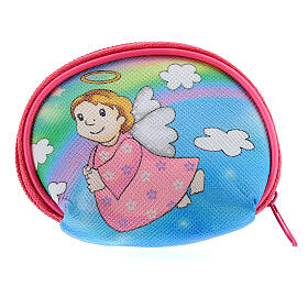 Purse rosary holder 7x6 cm with Angel dressed in pink image s2