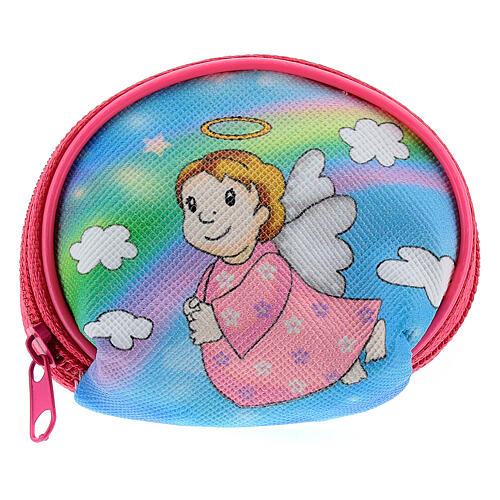 Purse rosary holder 7x6 cm with Angel dressed in pink image 1