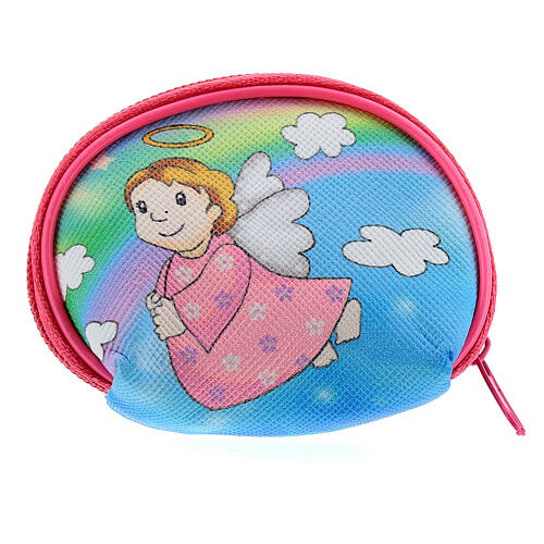 Purse rosary holder 7x6 cm with Angel dressed in pink image 2