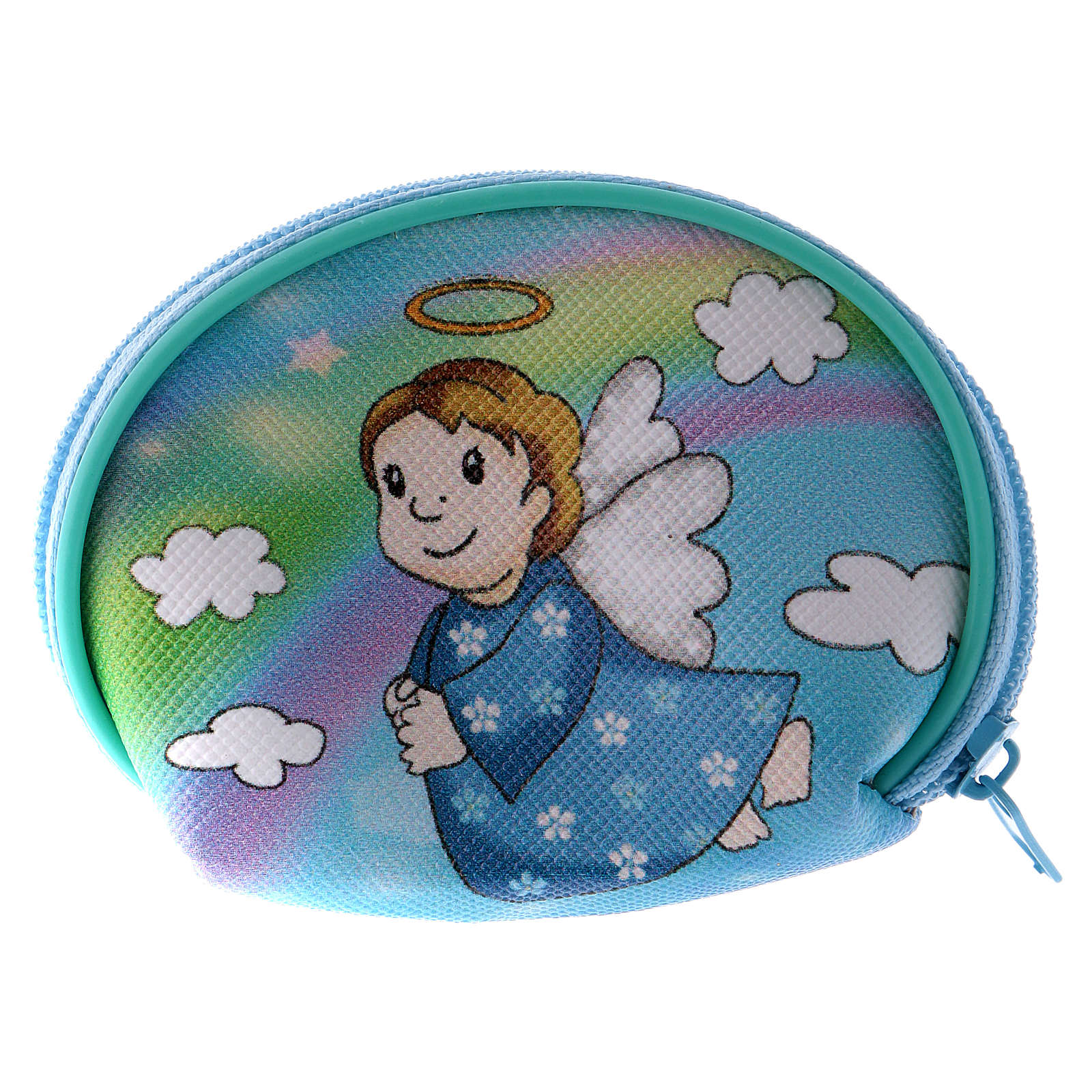 Purse rosary holder 7x6 cm with Angel dressed in light blue image 4
