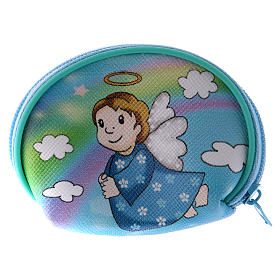 Purse rosary holder 7x6 cm with Angel dressed in light blue image s2