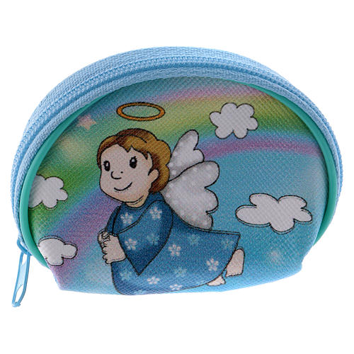 Purse rosary holder 7x6 cm with Angel dressed in light blue image 1