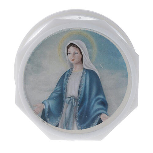 Rosary holder glass and Virgin print 1
