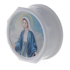 Caja para rosario platina y estampa Virgen s2