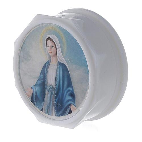 Caja para rosario platina y estampa Virgen 2