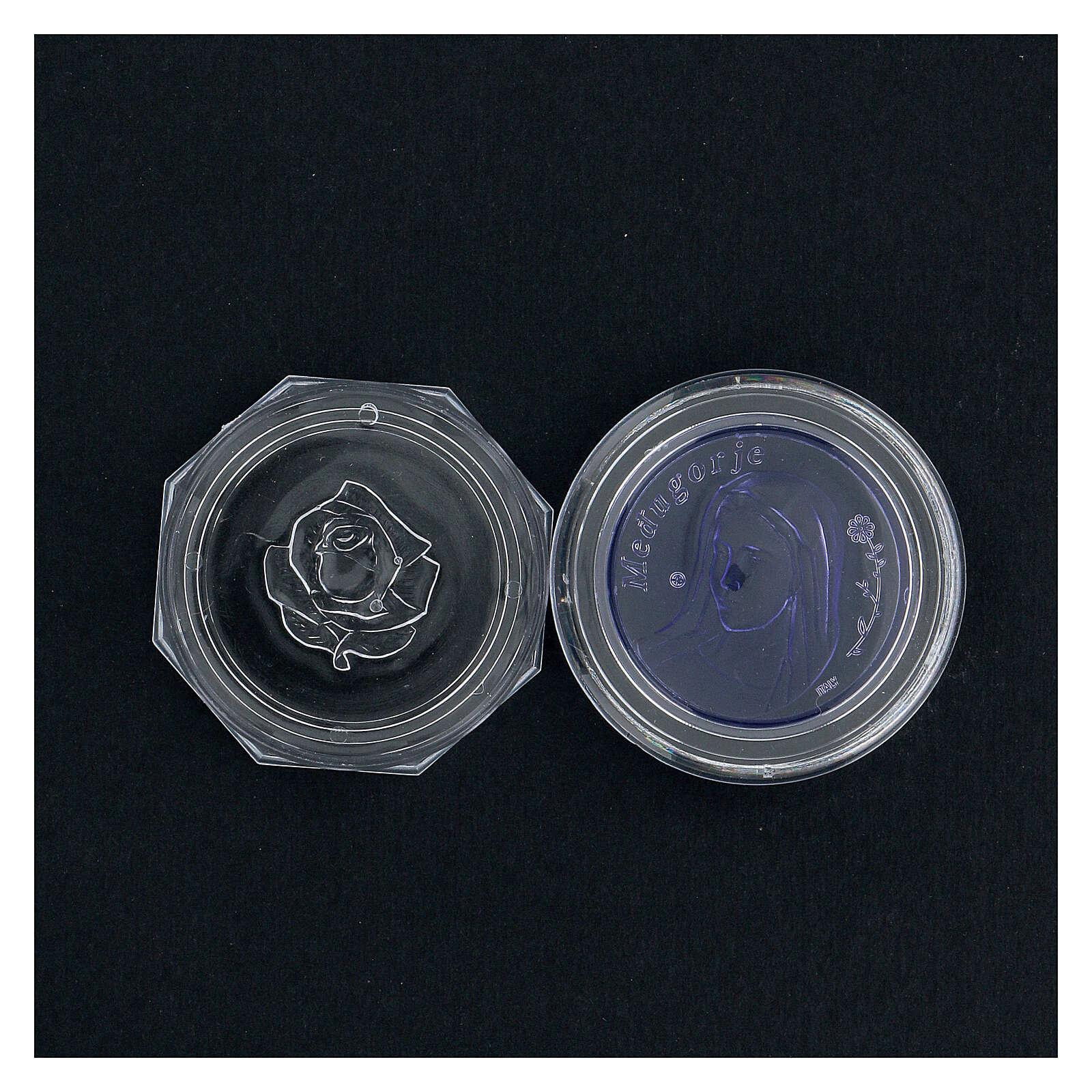Caja para rosario Medjugorje vidrio azul 4