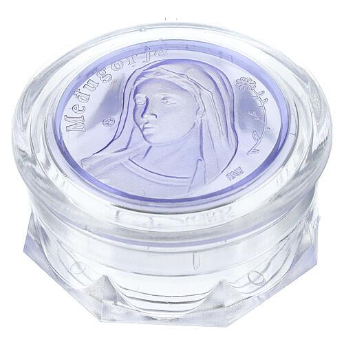 Caja para rosario Medjugorje vidrio azul 1