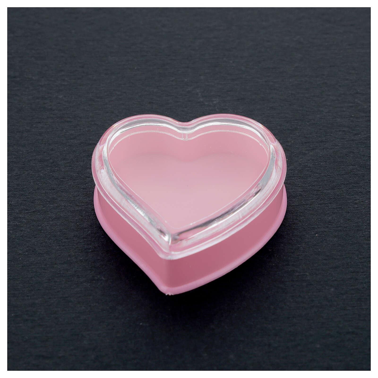 Cuore fondo rosa portarosario grani 4 mm 4