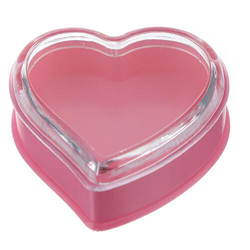 Cuore fondo rosa portarosario grani 4 mm 1
