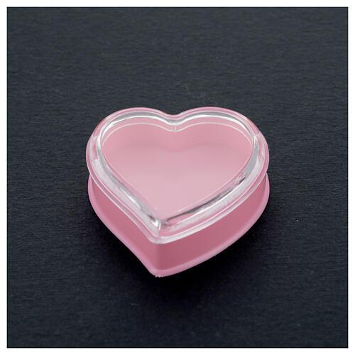 Cuore fondo rosa portarosario grani 4 mm 2