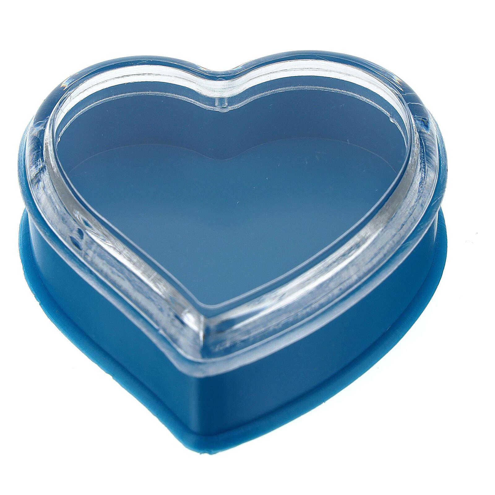 Caja corazón fondo azul rosarios 4 mm 4