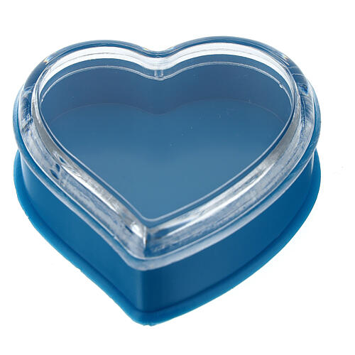 Caja corazón fondo azul rosarios 4 mm 1