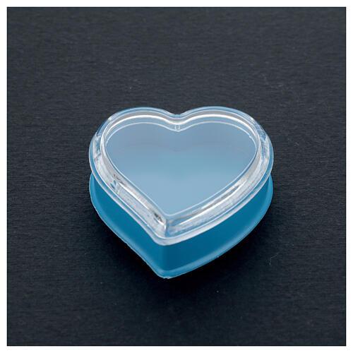 Caja corazón fondo azul rosarios 4 mm 2