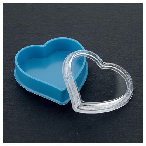 Caja corazón fondo azul rosarios 4 mm 3