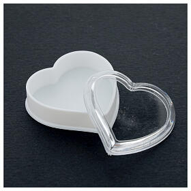 Heart rosary holder with white bottom and 4 mm beads s3