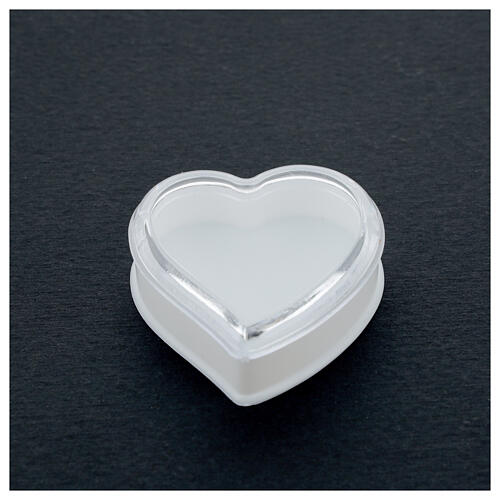 Heart rosary holder with white bottom and 4 mm beads 2