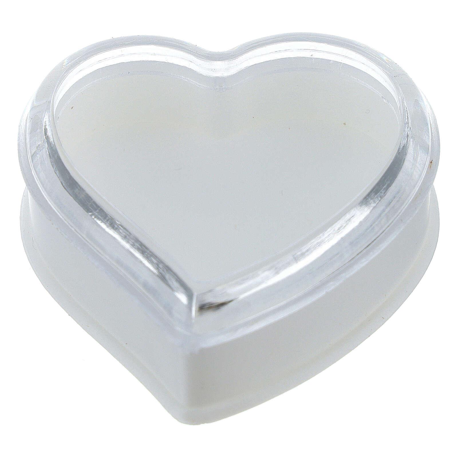 Caja para rosario corazón fondo blanco granos 4 mm 4
