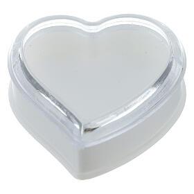 Portarosario cuore fondo bianco grani 4 mm s1