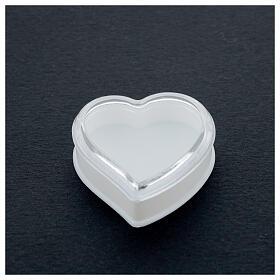 Portarosario cuore fondo bianco grani 4 mm s2