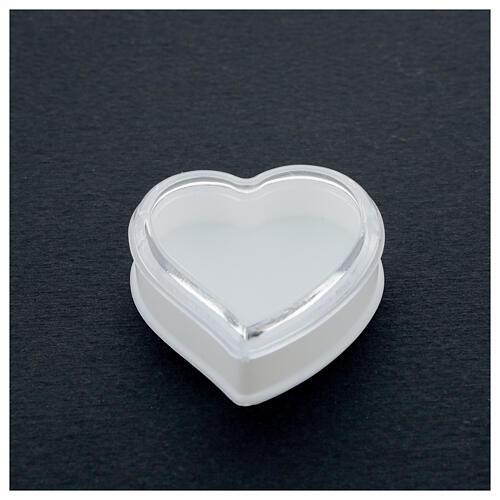 Portarosario cuore fondo bianco grani 4 mm 2